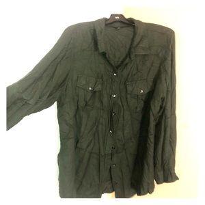 Green top navy slacks